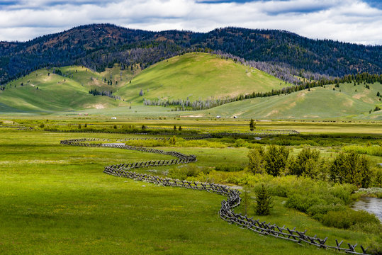 Rural scene in the Sawtooth Mountains