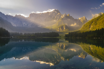 Wall Mural - Beautiful mountain lake Laghi Di Fusine in the morning