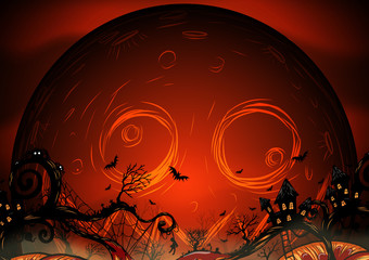 Halloween background by hand drawing.Halloween background with full moon and pumpkin.
