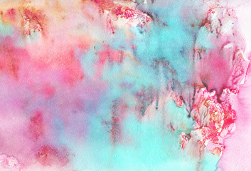 Hand drawn light colorful abstract background. Painting pink, yellow, blue splashes. Watercolor wet illustration in vintage style