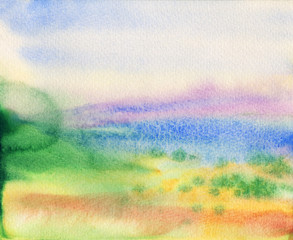 Painting landscape with mountains, sea, blue sky, clouds, green glade with flowers. Hand drawn nature european background. Watercolor countryside illustration