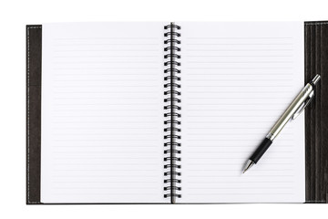 Notebook clean blank white paper with lines and black cover and formal pen on white background for text decoration or insertion