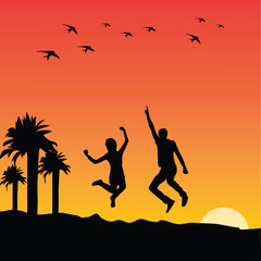 People jumping at sunset