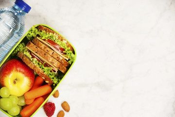 Green school lunch box with sandwich, apple, grape, carrot and bottle of water