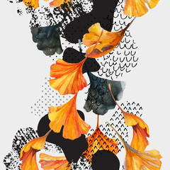 Fototapeten Grafik Druck Drawing of ginkgo leaves, ink doodle, grunge, water color paper textures.