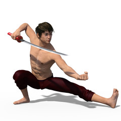 3d render of a young strong Asian sword fencer isolated on white
