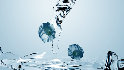 blaue Blumen mit Wasser, 3d illustration