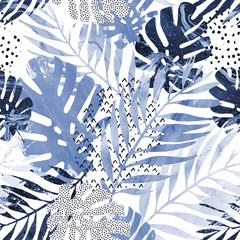 Photo sur Plexiglas Empreintes Graphiques Art illustration: trendy tropical leaves filled with watercolor grunge marble texture, doodle elements background.