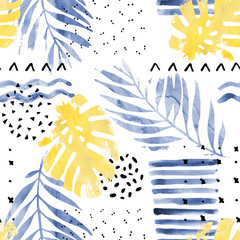 Printed roller blinds Graphic Prints Hand drawn illustration with floral elements, watercolor textures, dry rough brush strokes, minimal doodles, geometrical shapes.