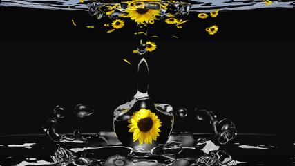 Wasserspiel mit Sonnenblumen, 3d illustration