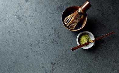 Matcha Green Tea, Tea Whisk and a Tea Cup