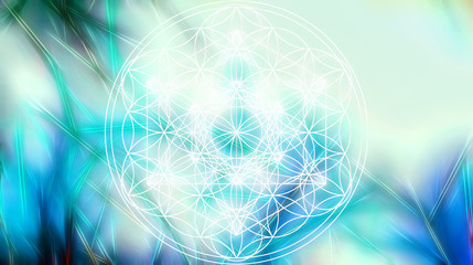 Light merkaba and Flower of life on abstract color background and fractal structure. Sacred geometry. Fototapete