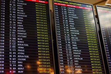 ISTANBUL, TURKEY - APRIL, 2017: Airport international departures board