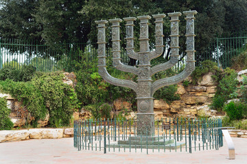 JERUSALEM, ISRAEL - APRIL, 2017: The Knesset's Menorah sculpture, Jerusalem, Israel