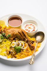 Hyderabadi Biryani is most well-known Non-Vegetarian culinary delights from the famous Hyderabad Cuisine. A traditional Indian dish made using Basmati rice, chicken and various other exotic spices