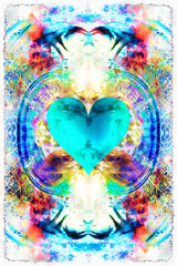 Heart on abstract background. Beautiful color background.
