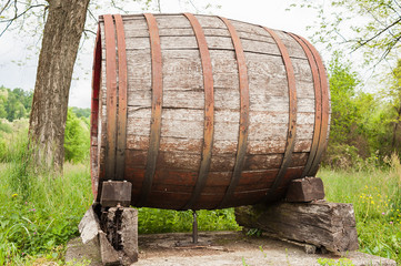 Old wooden barrel.