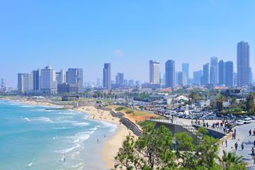 TEL AVIV, ISRAEL - APRIL, 2017: View of the coastline of Tel Aviv from the observation deck in old Jaffa.