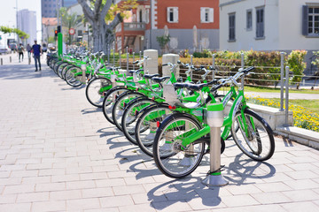 TEL AVIV, ISRAEL- APRIL, 2017: Parked bicycles in center of Tel Aviv.Tel-O-Fun is a bicycle sharing service which provided by the city including 125 active stations.