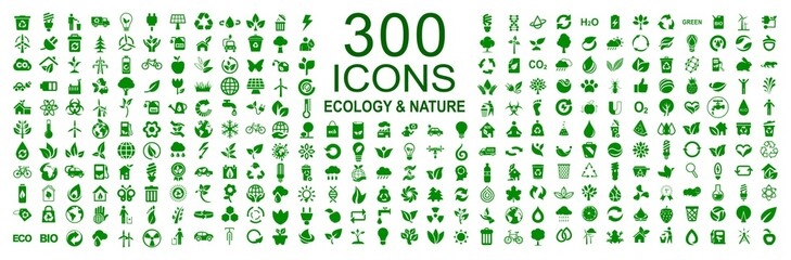 Set of 300 ecology icons – stock vector Wall mural