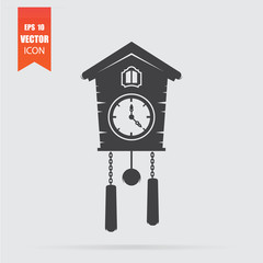 Cuckoo clock icon in flat style isolated on grey background.