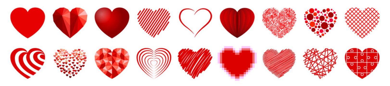 Set of eighteen hearts - vector
