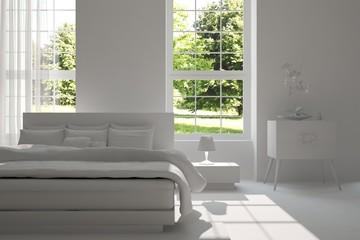 Idea of white minimalist bedroom with green landscape in window. Scandinavian interior design. 3D illustration
