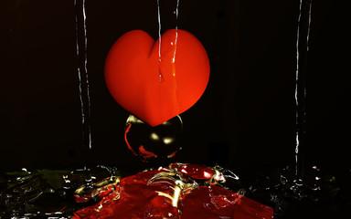 Wasserspiel mit Herz, 3d illustration