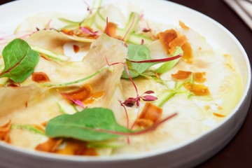 Papiers peints Entree Carpaccio from artichoke and bottarga