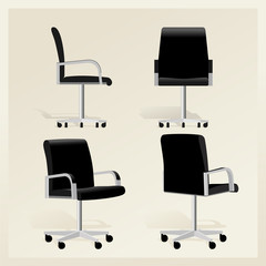 Black leather office chair vector