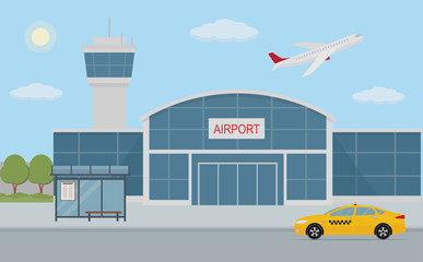 Airport building, taxi cab and bus stop. Flat style, vector illustration.