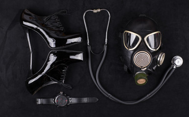 Sexy fetish, gas mask