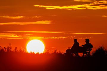 Sonnenuntergang Bank Nordsee