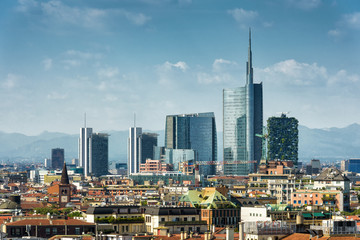 Wall Mural - Milan skyline with modern skyscrapers