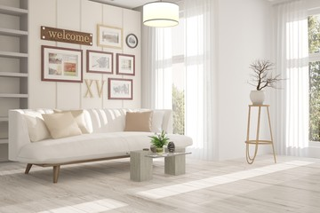 White inspiration of minimalist room with sofa. Scandinavian interior design. 3D illustration