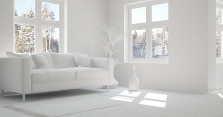 Idea of white room with sofa and winter landscape in window. Scandinavian interior design. 3D illustration