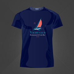 Original print for t-shirt. Blue t-shirt with fashionable design - Sail boat or yacht. Vector Illustration