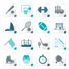 Stylized Sport objects icons - vector icon set