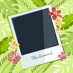 summer tropical background photo card with exotic palm leaves and flowers hibiscus plumeria