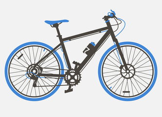Mountain Sport bicycle flat design. Retro design. Blue Bicycle vintage style vector