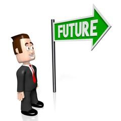 """3D businessman, """"future"""" concept."""