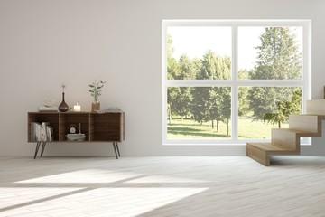 Idea of white room with shelf and summer landscape in window. Scandinavian interior design. 3D illustration
