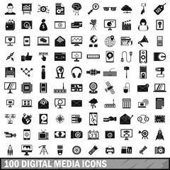 100 digital media icons set, simple style