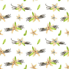 Seamless pattern with watercolor vanilla flowers, hand painted isolated on a white background