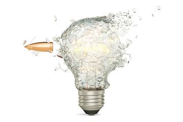Bullet braking a light bulb, 3D rendering