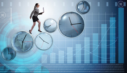 Businesswoman in time management concept