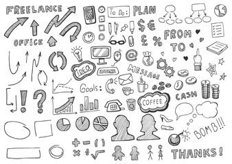 Hand drawn business elements set