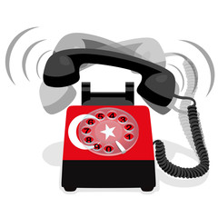 Ringing black stationary phone with flag of Turkey. Vector illustration.
