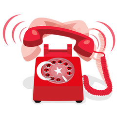 Ringing red stationary phone with flag of Turkey. Vector illustration.