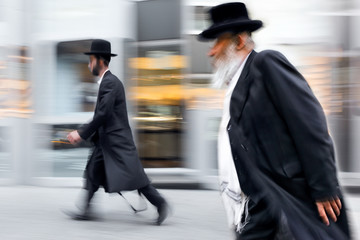 group of Jewish business people in the street